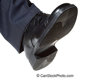 shoe stepping in white background