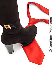 Shoe steps on a necktie