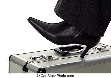 shoe - business women shoe standing on case close up