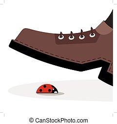 shoe trample ladybug