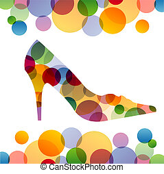 Shoe with colorful circles