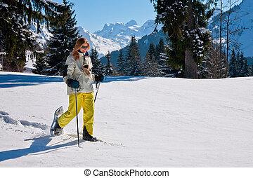 shoeing, vrouw, sneeuw