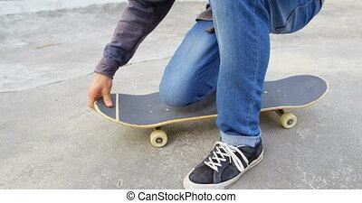 shoelace, skateboard park, jego, sekcja, znowu, kucanie, ...