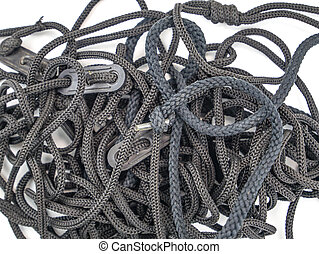 Shoelaces with a knot on a white background.