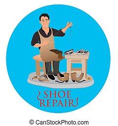 shoemaker cobbler repair shoe, vector illustration