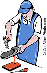 shoemaker cobbler shoe repair work - illustration of a...