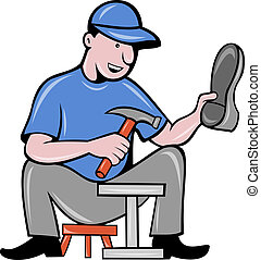 shoemaker cobbler shoe repair working - illustration of a...