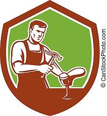Shoemaker With Hammer Shoe Shield Retro