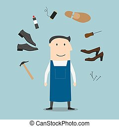 Shoemaker with tools and shoes