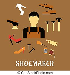 Shoemaker with tools and shoes in flat style - Shoemaker...