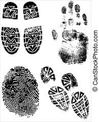 shoeprints, handprints, vingerafdrukken