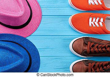 shoes., 夏の 帽子, 対