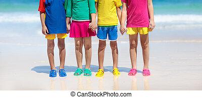 shoes., 海, footwear., 子供, 夏, 浜, 子供