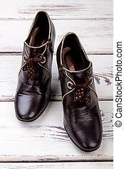 shoes., 革, 黒, 対, 女性