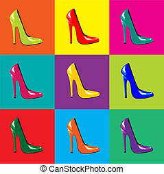 A vector illustraion of bright, high-heel shoes on colourful tiled background. Pop-art style. Seamless
