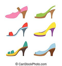 shoes., alti talloni, set, colorito