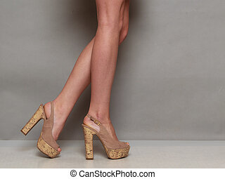 shoes, alto, hembra, talones, sexy, piernas