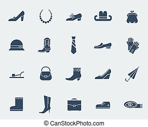 Shoes and accessories icons isolated on white