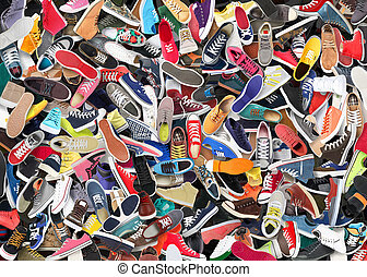 Background. A big bunch of different shoes