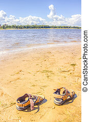 shoes beach sand