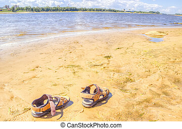 shoes beach sand