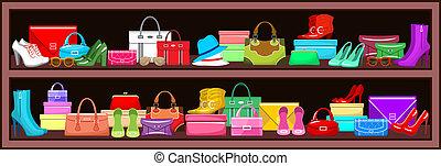 shoes., bolsas, vector, ilustración, estante