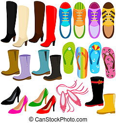 Shoes (boots, high heels, sneakers) - A set of Vector Icons:...