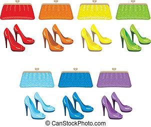 shoes., borsa, femmina