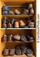 Shoes box - An old wooden shoes box with a lot of different ...