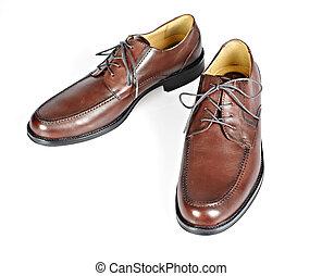 shoes., brun, homme