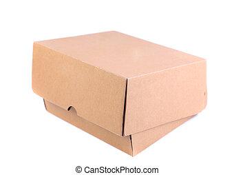 shoes, caja, es, localizado, en, el, fondo blanco
