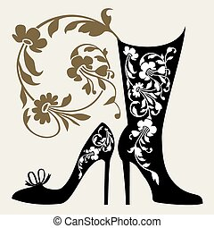 Black silhouettes of womens shoes with ornaments