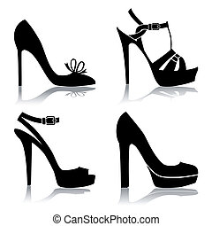 Shoes silhouette collection for your design, isolated on white, full scalable vector graphic for easy editing and color change.