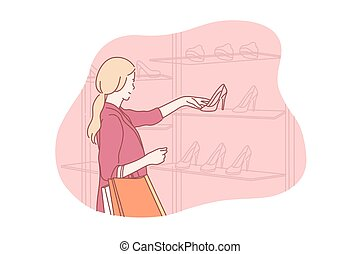 shoes, comprar, compras, venta, concepto