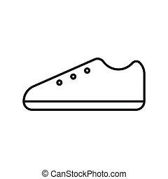 shoes, contorno, golpe, icono, vector