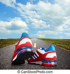 shoes., corriente