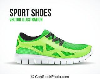 shoes., courant, symbole., clair, espadrilles, vert, sport