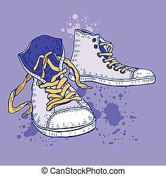 shoes., desporto, sneakers.