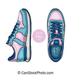 shoes., esboço, vetorial, moda, womens