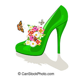 Bouquet of flowers in the womens shoe and flying butterflies. The illustration on a white background.