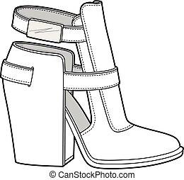 SHOES footwear design fashion flat sketch template