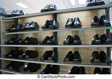 Shoes for sale - Men's leather shoes, on display in a ...