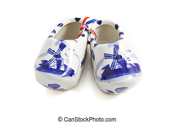 Shoes from holland - Dutch wooden shoe isolated on a white...