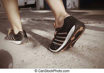 shoes., futás