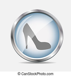 Shoes Glossy Icon Vector Illustration