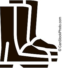 shoes, glyph, material, gumboots, icono, impermeable