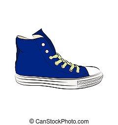 shoes., húzott, tornaterem, kéz, gumitalpú cipő