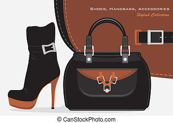 Shoes, handbags and accessories. Stylish collection. Vector...