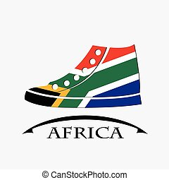 shoes icon made from the flag of Africa