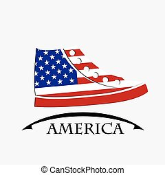 shoes icon made from the flag of America